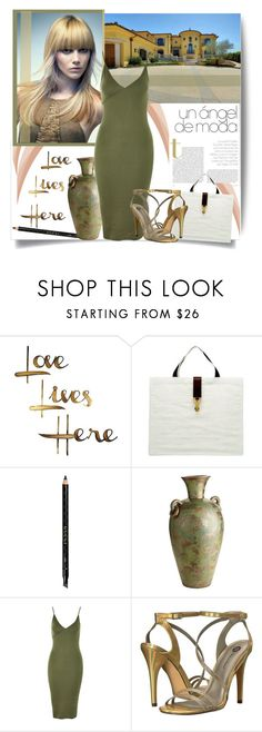 """""""Date Night Delight"""" by lavendergal ❤ liked on Polyvore featuring Tiffany & Co., Letter2Word, Yves Saint Laurent, Gucci, Pier 1 Imports, Topshop, Michael Antonio, DateNight, Heels and sandals"""