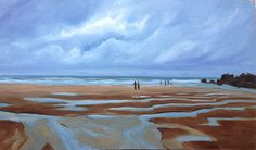 Clouds breaking after a heavy rain on a beach, tide just going out. This painting is of Duckpool beach in Cornwall where I got seriously soaked by the rain, but it was all well worth it and would do it again! :)