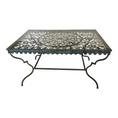6b913795ca8a 1940 s French Provincial Iron Table With Glass Top
