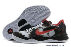 more photos 44b41 9c125 Authentic Nike Zoom Kobe 8 (VIII) Basketball Shoes White Black Red Style  For Wholesale