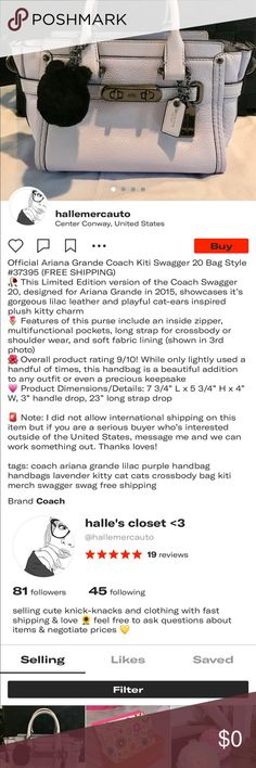 Ariana Grande Coach Kiti Swagger 20 Bag (ON DEPOP) Hey guys! This is my bag I'm selling on Depop. I'm not comfortable selling on Poshmark yet because I've never made a listing here before, but I thought I'd share for the people who are interested in purchasing but on a different platform. With my 5 star average, Depop is where I can confidently sell this beautiful product and ship it to someone who will absolutely love it. My username there is @hallemercauto (shown on last photo). If you'd…