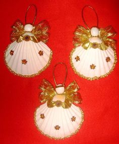 Gold Dust Sunflower 4 Sea Shell Angel Ornaments by MiscbyMichelle, $30.00: