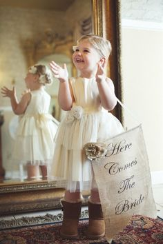 Love this Flower Girl's cute little Ugg Boots and Here Comes the Bride Sign! Except my flower girl with have cowboy boots on! Chic Wedding, Wedding Events, Our Wedding, Dream Wedding, Wedding Signs, Wedding Suite, Wedding Blog, Fall Wedding, Wedding Ceremony