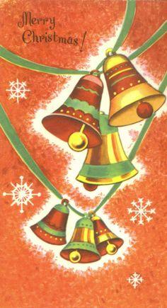 Vintage Stuff Vintage Greeting Card Christmas Bells Snowflakes Mid-Century DA Line Aqua Christmas, Christmas Past, Christmas Bells, Christmas Items, Christmas Oranges, Christmas Scenes, Christmas Deco, Beautiful Christmas, Christmas Ornaments