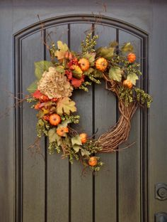 Fall Wreath Autumn Wreath Green Berry by AnExtraordinaryGift
