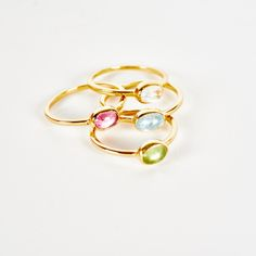 Handmade Silver 22 Carat Gold Beach Ring Stacking Colorful Gems Jewellery Jewelry