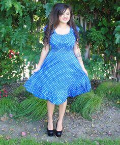3c083f90595 Womens Plus Size Dress BLUE Polka Dot Rockabilly