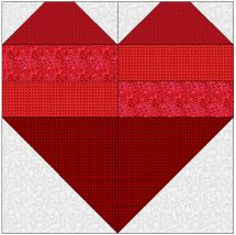 """HEART...Block Size -- 8"""" x 8"""" finished (8½"""" x 8½"""" with seam allowance)..Please take the time to measure and sew accurately. It is very hard to sew together blocks that are not the same measurement. Most guild members would be more than happy to help you get started if you are unsure about how to begin. Let's take our time -- even experienced quilters can have an off day at the sewing machine."""