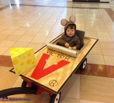 Mouse Trap - DIY Halloween costume, so cute for when the kids are little and walking tires them out easily.