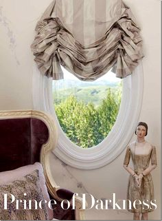 gorgeous window curtain on an oval window.... Design by Martyn Lawrence Bullard