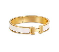 "Clic H Hermes narrow bracelet White enamel<br />Gold plated hardware, 2.25"" diameter, 7.5"" circumference, 0.5"" wide"