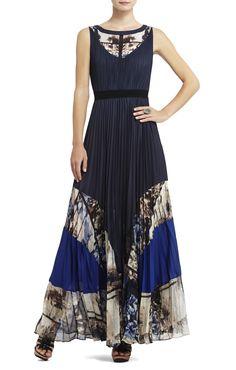 bcbg - blue - dress - pleated