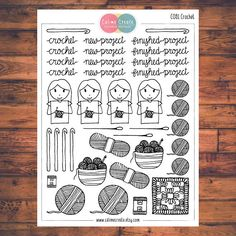 One sheet of Crochet stickers!  These planner stickers are designed to fit various planners including but not limited to Erin Condren, Happy Planner, Day Designer, Inkwell, Plum Paper and Filofax!  - Each sheet is approximately 5.7 x 4.3 inches (or 14.5 x 11 cm). - All stickers are printed on non-removable matte white adhesive paper. - Stickers are kiss-cut for easy removal. - All artwork is hand drawn and created by Calime Create. Please let me know if you need customization!  Thank you for…