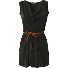 Wal G Cowl Neck Dress (99 PLN) ❤ liked on Polyvore featuring dresses, vestidos, short dresses, khaki, mini dress, green wrap dress, wrap dress, cowl neck mini dress and khaki green dress