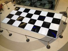 black & white ABS check floor in shopping centre
