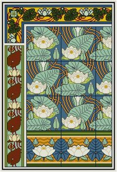 Water Lily Floral Panel Cross stitch pattern PDF / Maurice Verneuil / Decorative Arts / Historical Design