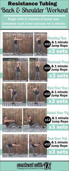 Back and Shoulder Resistance Tubing Workout. 12 reps, combined with 1 min cardio for three sets per exercise.