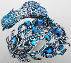 Blue crystal peacock bracelet.