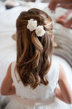 Flower pins in half up half down style                                                                                                                                                                                 More