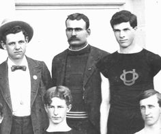 Portion of a black and white photo of the 1898 University of Oregon track team. Clockwise from upper left are: manager C. V. Galloway, trainer W. O. Trine, B. E. Spencer, Bert Whipple and R. S. Bryson. Complete photo may be found at A_ATHTF_Mens1920s_0014. ©University of Oregon Libraries - Special Collections and University Archives