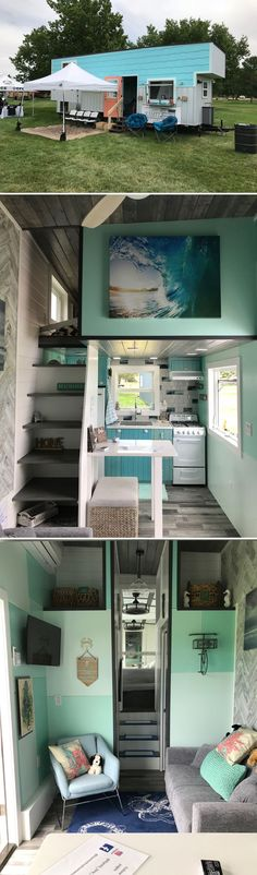 The 32-foot Beach House was built by Kamtz Tiny Home Company and won Best in Show at the 2018 Colorado Tiny House Festival.