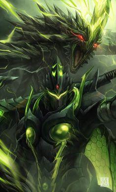 El tercero de los 4 grandes, Astalos (Raizekusu) y su armadura.  Artist: Nathaniel Himawan (http://ninesicks.tumblr.com/)
