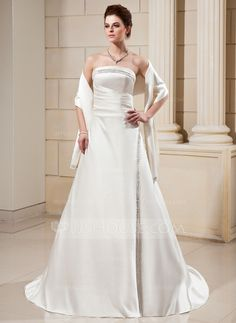 Wedding Dresses -  A-Line/Princess Strapless Court Train Satin Wedding Dress With Ruffle Bead work
