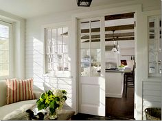 Love these French style pocket doors as room dividers. Nice alternative to standard French doors and would save on space! Country House Interior, Interior Barn Doors, Home Interior Design, Interior Windows, Pocket Doors, Home And Deco, Home Fashion, My Dream Home, French Doors