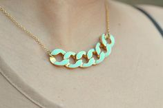 Modern Mint Chain Statement Necklace in Gold.  by RusticGem, $42.00