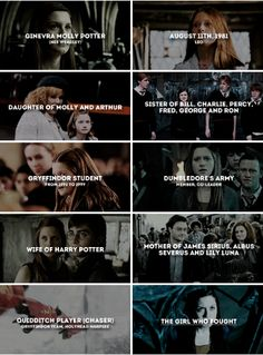 August - A pure-blood witch, the youngest… Harry Potter Feels, Harry Potter Puns, Harry Potter Universal, Harry Potter Characters, Harry Potter World, Harry Potter Hogwarts, Gina Weasley, Must Be A Weasley, Film Manga