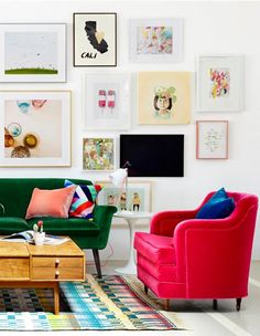 Wall collage and bright pops of color.