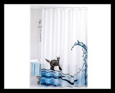 Cat Shower Curtain Shower curtain with funny cat design. With reinforced metal eyelets. Size 180 x Cat Shower Curtain, Thinking Outside The Box, Buy A Cat, Cat Design, Curtains, Bathroom, Hooks, Big, Metal