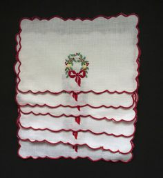 Excited to share the latest addition to my #etsy shop: Vintage Christmas Cocktail Napkins - Set of 6 - Embroidered Red Green Yellow Wreath - Cocktail Parties Barware - Entertaining Holiday Decor http://etsy.me/2jlLRRn #housewares #white #christmas #square #red #linen #