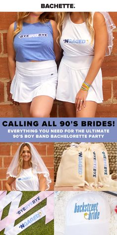 LETS THROW IT WAY BACK & GET READY FOR THE ULTIMATE 90'S BACHELORETTE PARTY WITH YOUR GIRLS! WE HAVE EVERYTHING YOU NEED FROM BACHELORETTE SHIRTS, SASHES, HANGOVER KITS & MORE! #bachelorette #bacheloretteparty Bachlorette Themes, Bachelorette Party Shirts, Hangover Kits, 90s Theme, Mean Girls, Maid Of Honor, Boy Bands, Bride, Wedding