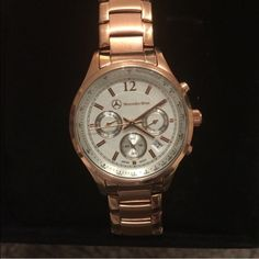 Mercedes Benz rose gold watch Rose gold watch - Mercedes benz, women's -- someone bought this watch, then AFTER I shipped it , canceled the order. Luckily I was able to intercept it. So PLEASE if you're interested in buying this beautiful watch , don't be a jerk & try to steal. -NEVER WORN Rolex Accessories Watches