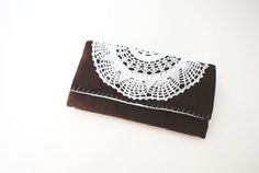 Chocolate Brown Corduroy Trifold Clutch Wallet by Singsthesparrow, $46.00