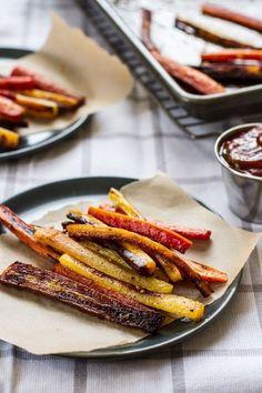 Roasted carrot fries with garlic basil ketchup.