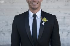 Black tie attire with contemporary tux and yellow boutonniere Black Tie Attire, Black Tux, Got Married, Getting Married, Yellow Boutonniere, Wedding Planner, Destination Wedding, True Love Stories, Groom Style
