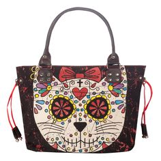A Unique Black Shoulder Bag with Colourful Cat Print, teamed with red drawstring applique on the sides perfect to brighten up any outfit!! Dimensions approx. - Width 44cm Height 31cm