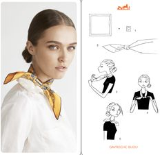 Let's learn on how to wear Hermes scarf and style it with out clothes for winters. They bring in colour to neutral tones and fashion statements, so why not flaunt and look haute in them! Ways To Tie Scarves, How To Wear Scarves, Scarf Knots, Scarf Belt, Small Scarf, 20th Century Fashion, Neck Scarves, Scarf Styles, Scarfs