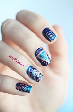 Traditional nail art. It's really good for winter. Please like and follow for more ideas!