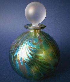 Isle of Wight Studio Glass Featherspray Fumed Blue Green Perfume Bottle Large