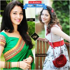 """#Style vs #Trendy 'Gorgeous Milk Beauty' #Tammana in Beautiful #Saree & in Stylish Trendy #Frock  Which Outfit suits her & looks cool? Present your interest in """"Like"""" for Saree or """"Comment"""" for Frock….  (Image copyrights belong to their respective owners)"""