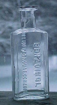 c1890s benzoinol cork top clear blown glass medicine bottle
