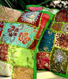 $25 gypsy Pillow Cover - Bohemian Decor - crazy quilt sort of ! Beautiful hues of Green and other amazing colors but the primary color is red. Hand crafted, embroidered pillow cover