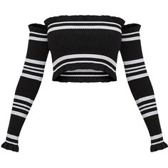 Black Lurex Stripe Ruffle Bardot Knit Jumper ($35) ❤ liked on Polyvore featuring tops, sweaters, striped sweater, stripe top, knit top, striped knit top and lurex sweaters