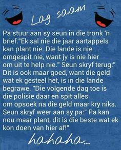Leke lag African Jokes, Boys Knitting Patterns Free, Afrikaanse Quotes, Goeie Nag, Good Morning Gif, Laugh At Yourself, Funny Quotes For Teens, Twisted Humor, Jokes Quotes