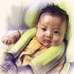 #baby #life #family #cute #chubby #newborn #portraitdrawing #caricature #sketching #babyart
