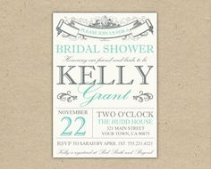 Bridal Shower Invitation or Baby Shower Invitation - Customize. printable template. diy. Modern (2012)