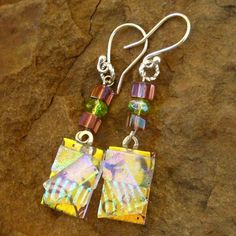 dichroic glass jewelry | Gold Fused Glass Earrings Dichroic Fused Glass Drop by GlassCat, $22 ...